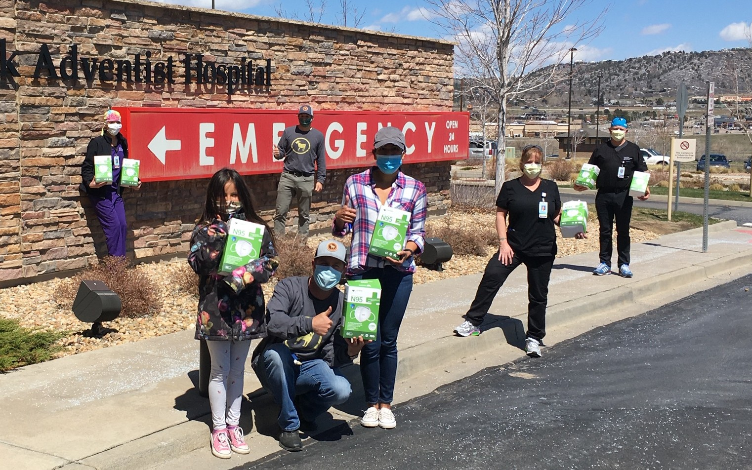 Daigle Family and OneGoat Foundation donating Masks to Castle Rock Adventist Hospital